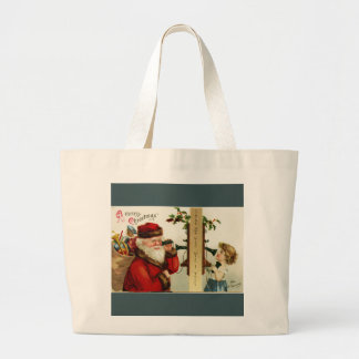 Vintage Santa and Girl on the Telephone Large Tote Bag