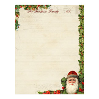 Vintage Santa and Holly Berry Christmas Letter Flyer