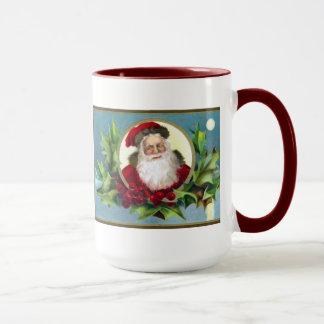 Vintage Santa and Holly Christmas Mug