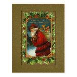 Vintage Santa and Holly Christmas Postcard