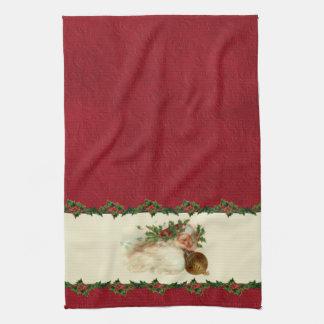 Vintage Santa and Holly Kitchen Towel
