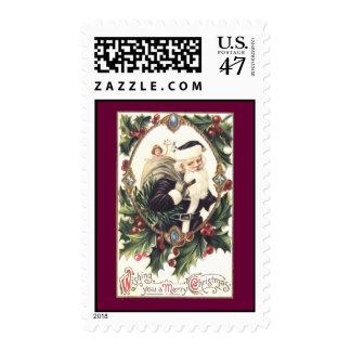 Vintage Santa and Holly Postage