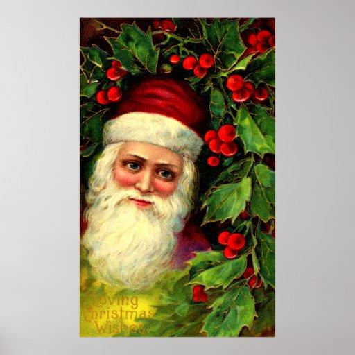 Vintage Santa and Holly Print