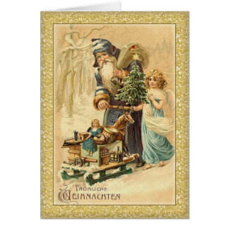Vintage Santa and little girl German Christmas Card