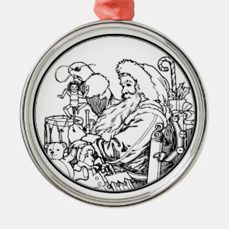 Vintage Santa and lots of toys (BW) Metal Ornament