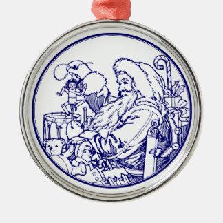 Vintage Santa and lots of toys (soft dark blue) Metal Ornament