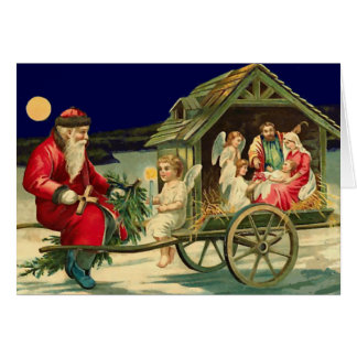 Vintage Santa and nativity scene Card