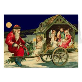 Vintage Santa and nativity scene Greeting Card