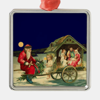 Vintage Santa and nativity scene Square Metal Christmas Ornament