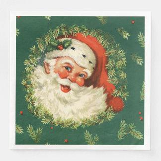 Vintage Santa and Pine Wreath Dinner Napkin