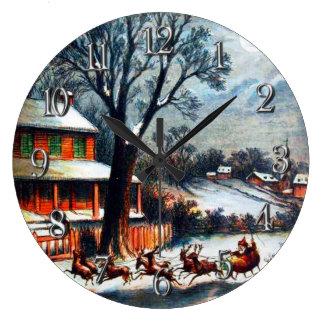Vintage Santa and Reindeers Visit From Santa Large Clock