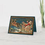 Vintage Santa And Sleigh Card card
