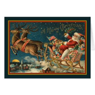 Vintage Santa And Sleigh Card