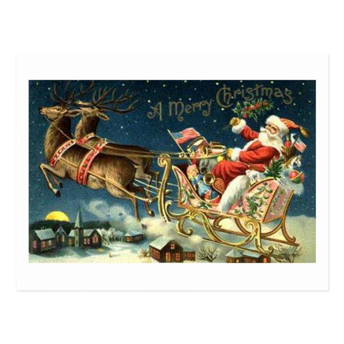 Vintage Santa and Sleigh Postcard