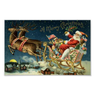 Vintage Santa and Sleigh Poster