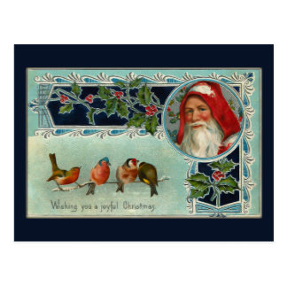 Vintage Santa and Snowbirds Postcard