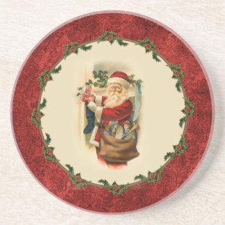Vintage Santa and Stockings Coaster