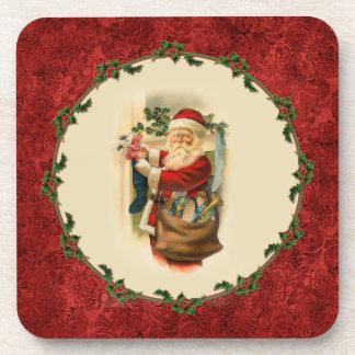 Vintage Santa and Stockings Coasters
