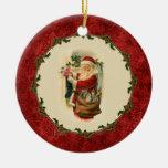 Vintage Santa and Stockings Ornament
