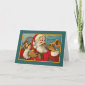 Vintage Santa And Trumpet Card card