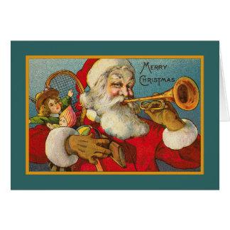 Vintage Santa And Trumpet Card