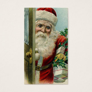 Vintage Santa at the Door Business Card
