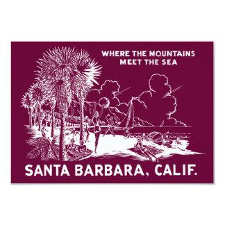 "Vintage Santa Barabara California 3.5"" X 5"" Invitation Card"