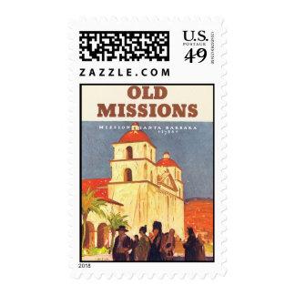 Vintage Santa Barbara Missions CA Stamp