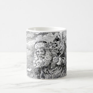 Vintage Santa blanco y negro Taza