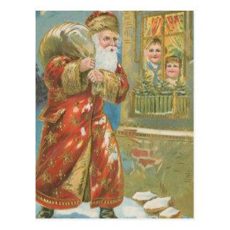 Vintage Santa Bringing Gifts Postcard