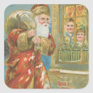 Vintage Santa Bringing Gifts Square Sticker