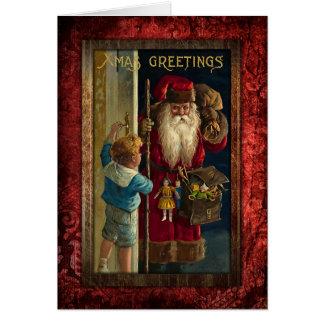 Vintage Santa Bringing Toys Card