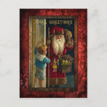 """Vintage Santa Bringing Toys Holiday Postcard<br><div class=""""desc"""">Beautiful nostalgic artwork from the Victorian age featuring red-robed Santa at the door bringing toys to a small child in a sailor suit. Artwork has been digitally restored and centered on a deep red damask background.</div>"""