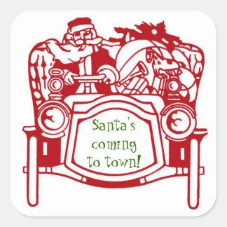 Vintage Santa Car Toys Christmas Fun Stickers