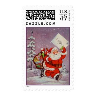 Vintage Santa carrying a letter Postage Stamp