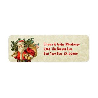 Vintage Santa Carrying Presents CH204 Label