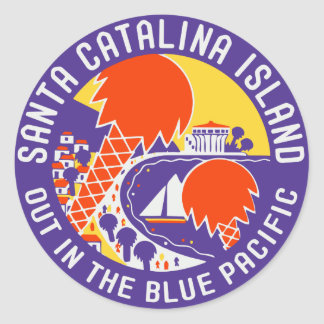 Vintage Santa Catalina Island Luggage Sticker