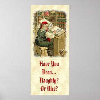 Vintage Santa Checking His Book CH407 Poster