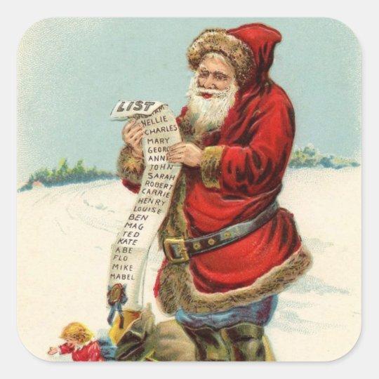 Vintage Santa Checking his List! Square Sticker