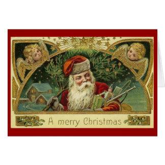 Vintage Santa Cherubs Christmas Greeting Card