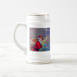 VINTAGE SANTA ,CHILD AND WINTER TREE Christmas Beer Stein