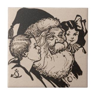 Vintage Santa & Children Ceramic Tile