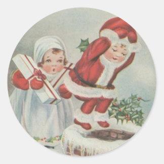 Vintage Santa Children Round Stickers