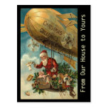 Vintage Santa Christmas Blimp - postcard