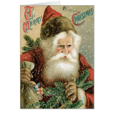 Vintage Santa Christmas Card at Zazzle