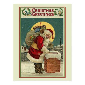 Vintage Santa - Christmas Greetings Postcard