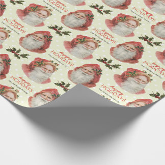 Vintage Santa Christmas Holly Green Personalized Wrapping Paper