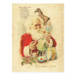 Vintage Santa Christmas Joy Holiday Wishes Toys Postcard