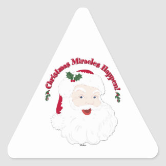 Vintage Santa Christmas Miracles Happen! Triangle Stickers