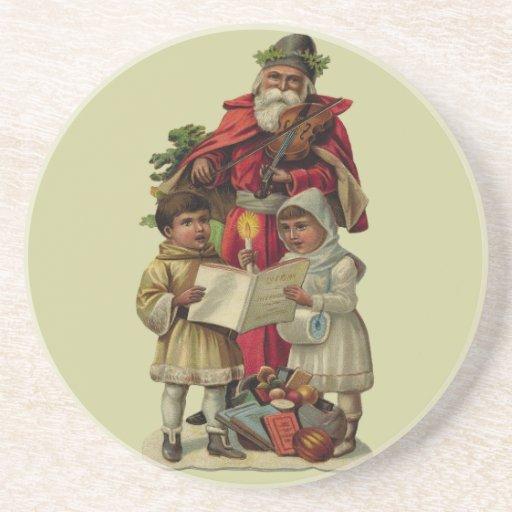 Vintage Santa Christmas Music Coasters